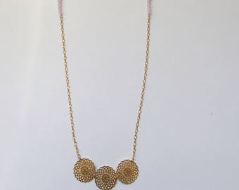 Gold necklace, gold roses and pale pink Swarovski pearls