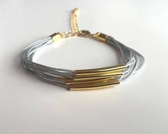 Gray and gold MULTISTRAND bracelet