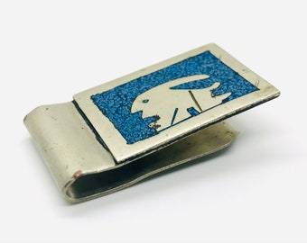 Vintage Pewter Money Clip w Americana Relief Details Gift for Him Eye of Providence Windmill Space Ship Banker Accountant