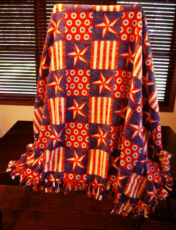 Stars And Stripes Fleece Blanket Patriotic Throw Etsy Stunning Stars And Stripes Throw Blanket