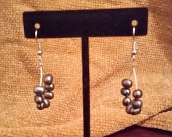 Freshwater Pearl Dangle Hoop Earrings