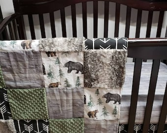 Antlers Wood Grain Bear Blanket Teal Grey Woodland Baby Change Pad Cover Boys Nursery Fitted Crib Sheets Crib Bedding Sets