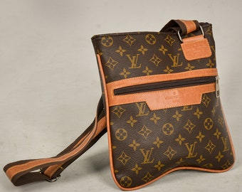 Louis Vuitton Messenger Bag Lv Monogram Woman Bag Crossbody Shoulder Bag Lv  Brown Leather Bag Lv Handmade Bag Lv Postman Bag 0197b4b705d42