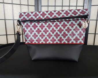 FAUX leather and African fabric shoulder bag