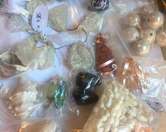White Druzies Shells Wood Focal Beads Grab Bag