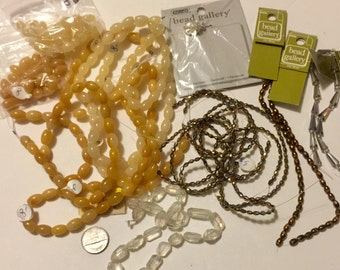 GRAB BAG of assorted yellow and white beads