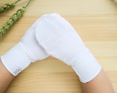 White Organic Silky Tencel and Silky Spandex Lightweight Athleisure Comfort First No-Scratch Eczema Mittens baby toddler child adult elderly