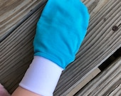Teal Athleisure Cotton Jersey and Silky Spandex Baby Mittens No Scratch Mittens Eczema Mittens (baby toddler child adult elderly custom)