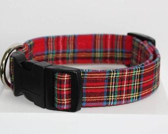 Red tartan Christmas dog collar, Print dog collar, Tartan dog collar, Handmade dog collar, Dog collars, Collars for Dogs, Chritsmas