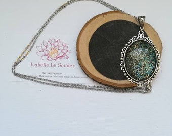 Hand painted glass cabochon necklace