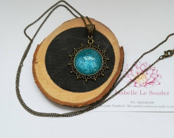 Hand painted glass cabochon necklace.