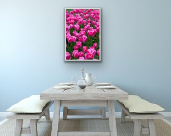 Pink Tulip Flower Vertical Photo Wall Art, Instant Digital Download Printable Home Decor, Floral Botanical Fine Art Canvas Mother's Day Gift