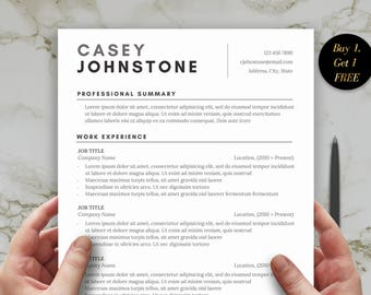 1 Page Resume Template for Word, Cover Letter and One Page Professional Resume Template for Word, Functional CV Template