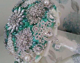 REF. ANNALISE  Brooch Bouquet Jewelled Bouquet Crystal Bouquet Tiffany Blue  Wedding Bouquet Bridal Posy Vintage Bouquet Memory Bouquet