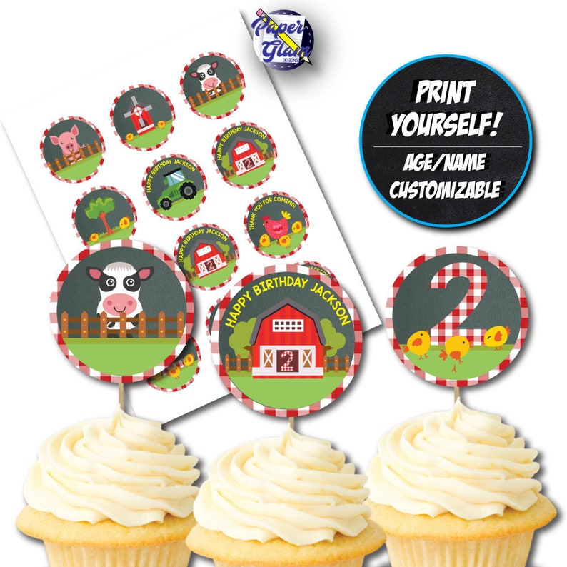 Farm Animal Themed Cupcake Topper Theme Birthday