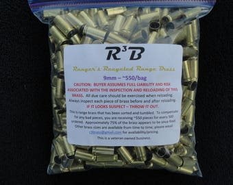 RELOADER'S SPECIAL  - 9mm Luger - 4000 count - Recycled Range Brass - Sorted and Tumbled (Polished)