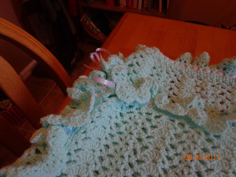 Pale Green and white baby afghan