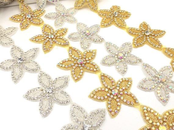 Stunning Crystal Rhinestone Flower Applique Motif Wedding Sewing//Iron on Trims