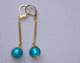 Earrings plated gold and murano beads