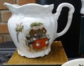 Antique Three Crowns Germany Creamer, Vintage German Creamer with Baby Bunting Images, Vintage Decorative Vase, Vintage Decorative Pitcher