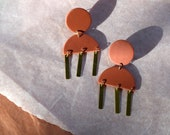 Clay and Brass Statement Earrings / Terracotta / Rust Red / Modern Geometric Simple Minimalist