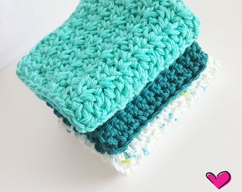 Set of 3 Large Handmade Crochet Dishcloths in Summer Colors