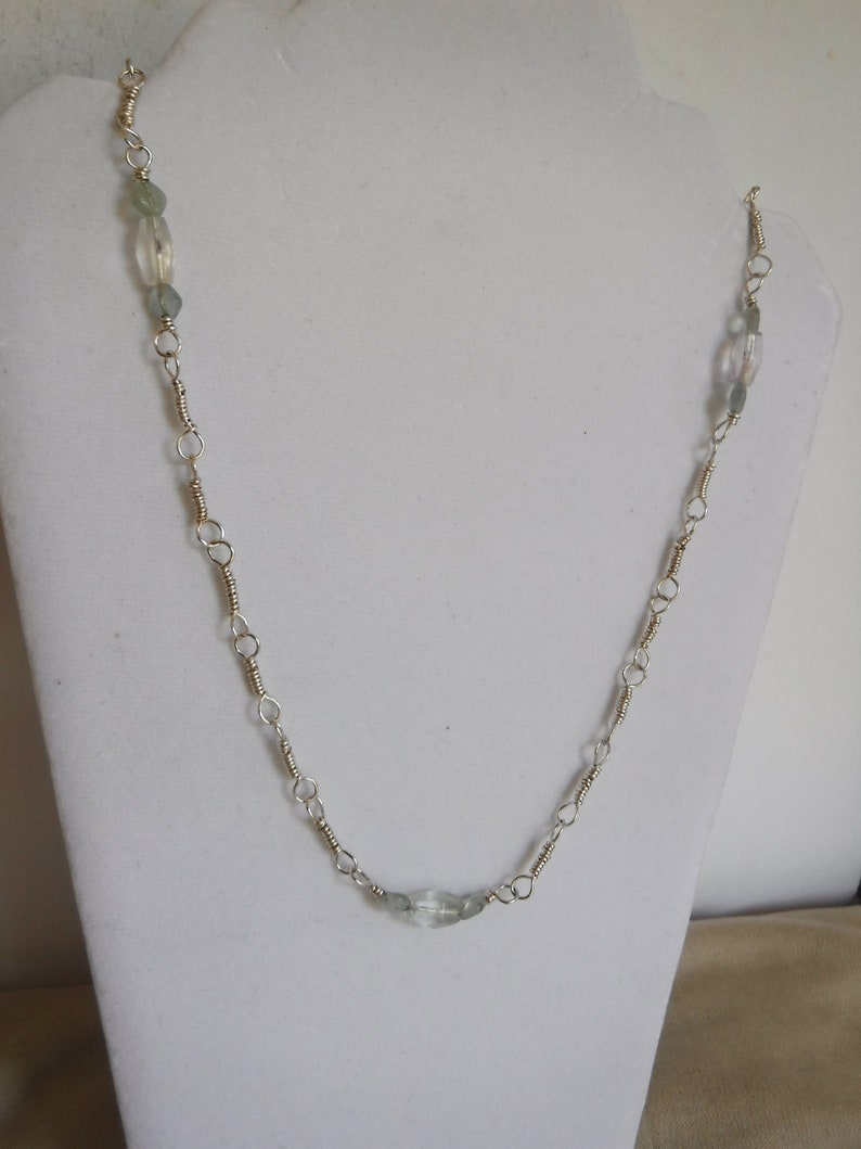 Fluorite and Silver Plated Copper Chain Necklace Handcrafted image 0