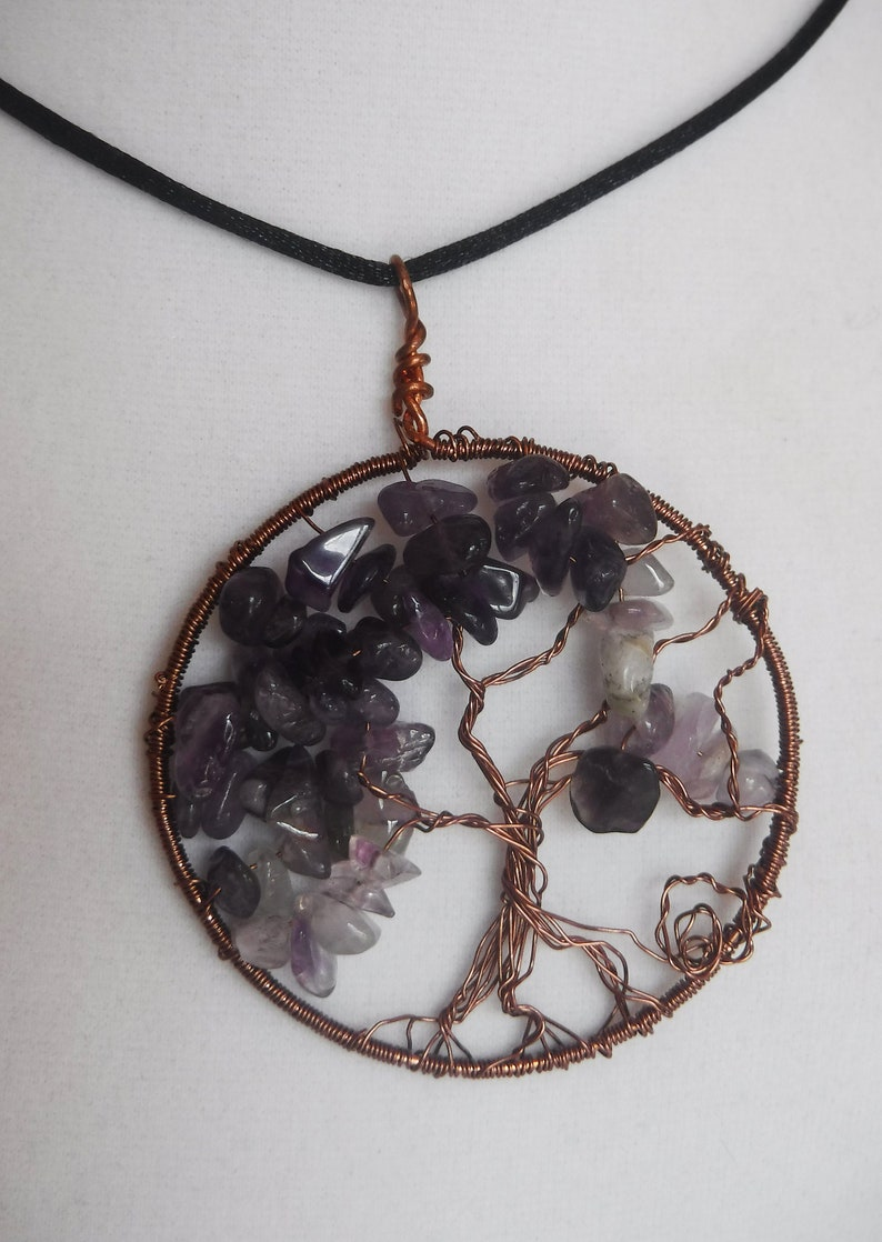 Tree of Life Pendant Amethyst Natural Gemstone and Copper image 0
