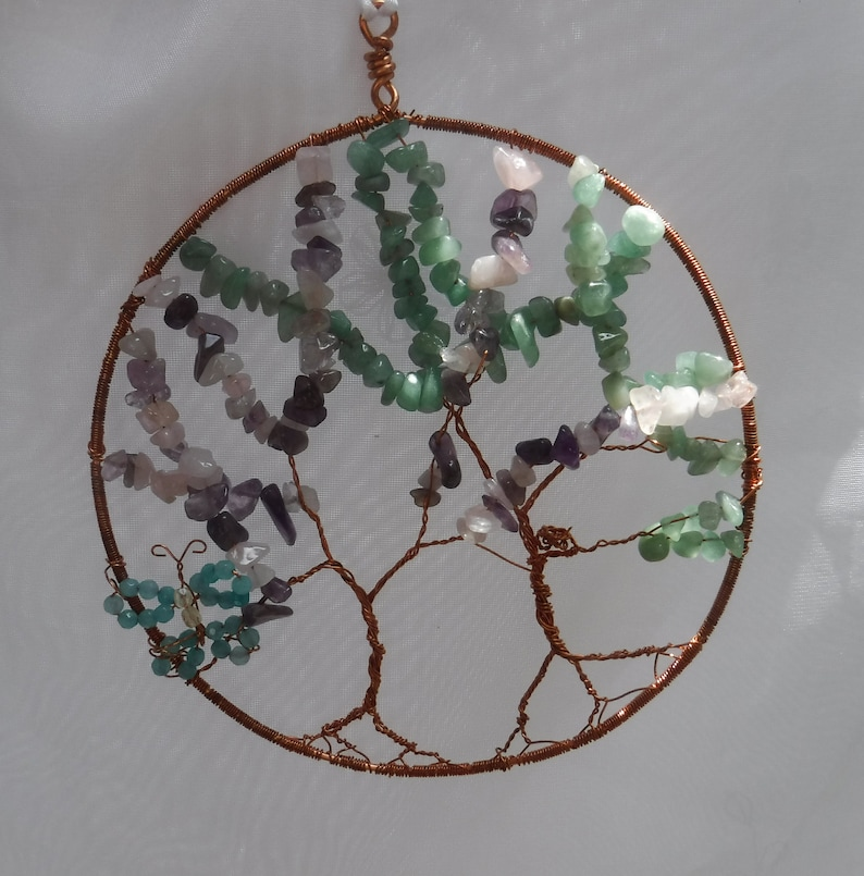 Tree of Life Suncatcher Natural Gemstone and Copper Wire image 0
