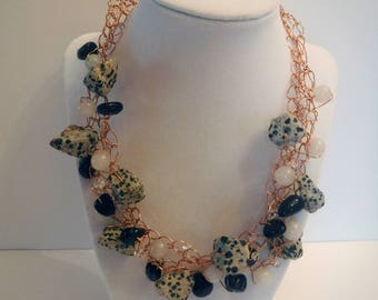Gemstone and Crystal Bead Wire Crochet Necklace Hand Crafted with Raw Copper