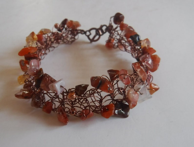 Red Agate and Copper Wire Crochet Cuff Bracelet Handcrafted image 0