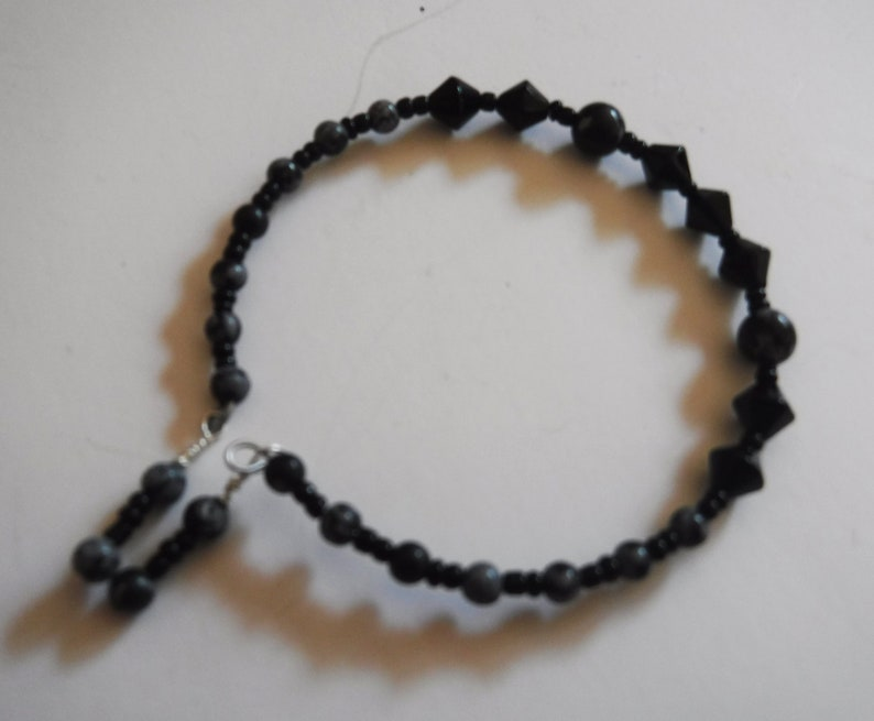 Snowflake Obsidian and Glass Memory Wire Bracelet One Size image 0