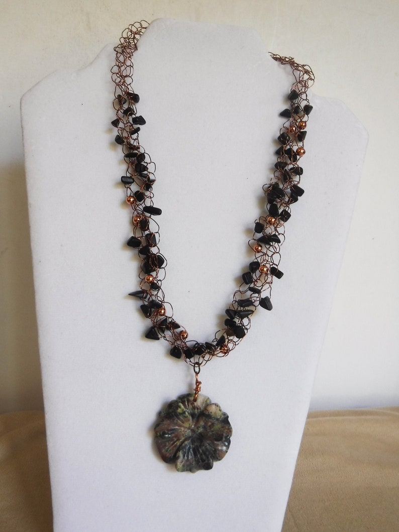 Agate with Jasper Flower Pendant Copper Wire Crochet Necklace image 0
