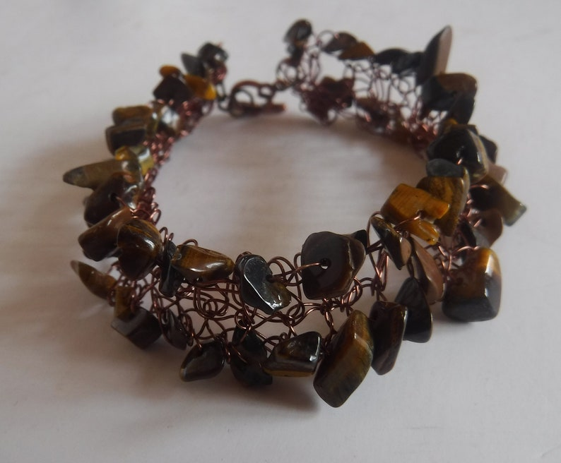 Tiger Eye and Copper Wire Crocheted Cuff Bracelet Handmade image 0