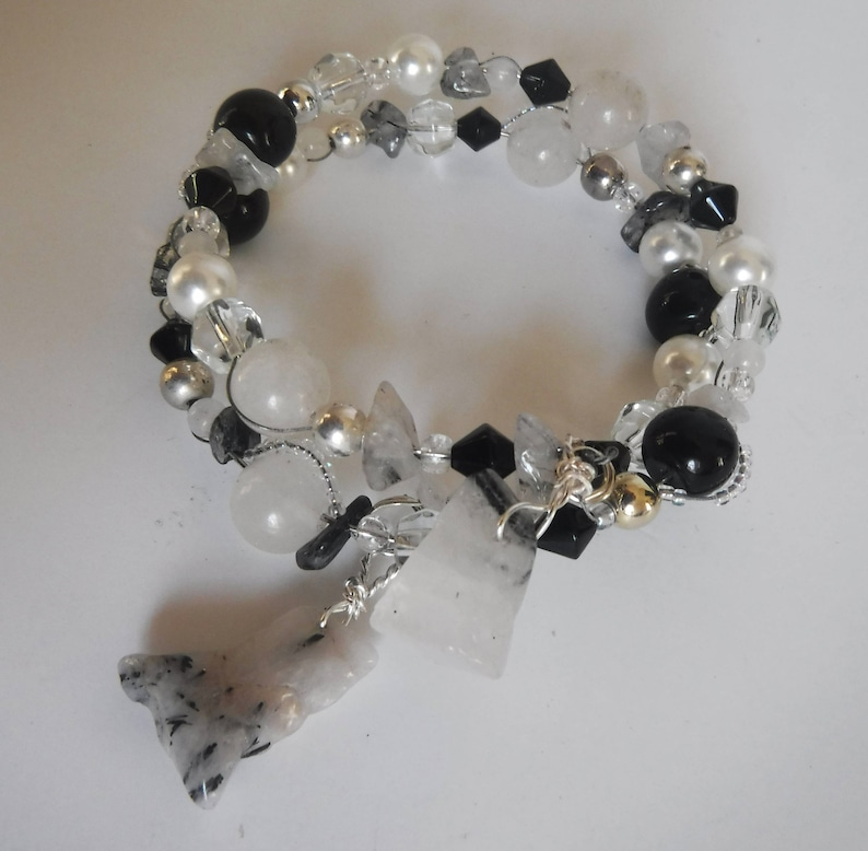 Black and White Quartz Obsidian and Glass Bead Wire Cuff image 0