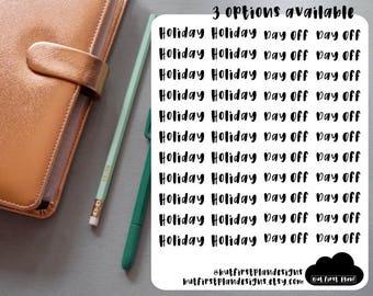 Holiday/Day Off Planner Stickers For Planners, Bullet Journals, Scrapbooking // Erin Condren, Happy Planner, Filofax