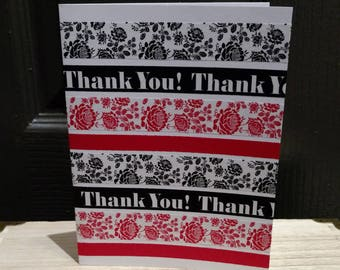 Bold Attention Grabbing Two-Tone Thank You Cards (set of 6). Bold red & black. Washi Tape. Floral Pattern Tape. Standout Notecard Set