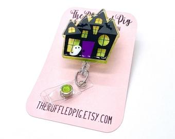 Haunted House Badge Reel, Glitter Halloween Retractable ID Clip, Holiday Nurse ID Holder, Happy Fall, Ghost RN Key Card, School Teacher Gift