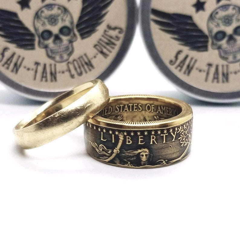 1oz Gold Eagle Coin Made Into A Ring, 1 oz Gold American Eagle Ring  Handmade from 22K Gold American Eagle Coin, Gold COIN RING
