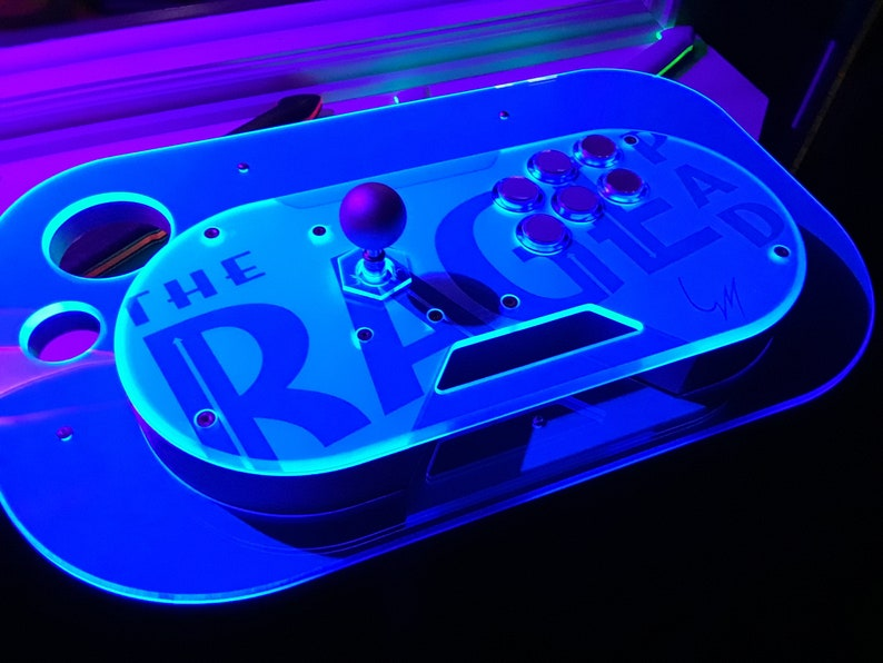 The RAGE Pad - Retro Arcade Game Enhancement Controller  Hand-Crafted DIY  fight stick case  NightFrost Acrylic top - Choose body & base
