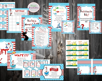 Dr Seuss Party Pack, Cat in the Hat Games, Dr Seuss Baby Shower Games, Dr Seuss Decorations,  Seuss Printable Games