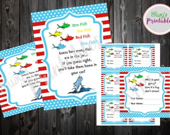 Dr Seuss Fish Guessing Game, Cat in the Hat Guessing Game, Dr Seuss Baby Shower Game, Dr Seuss Decorations,  Seuss Printable Games