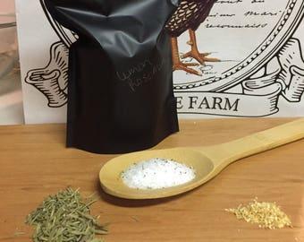 Lemon Rosemary Bath Salts 12 oz, natural bath salts, herbal bath, lemon, rosemary, lemon rosemary, bath soak, bath salts, citrus, relax