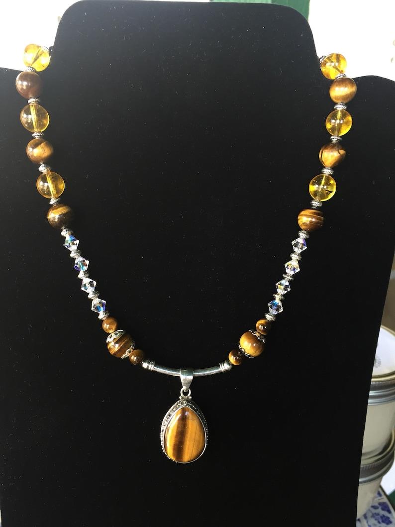 2df047bcac9f90 Tigers Eye Citrine Black Onyx Swarovski Crystals Silver | Etsy