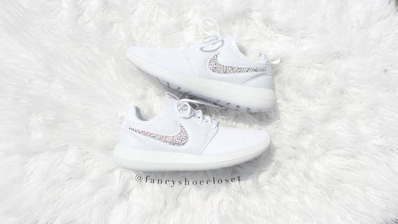barril material Chorrito  Nike Roshe Two White Crystalized w/ SWAROVSKI® Xirius Rose-Cut | Etsy