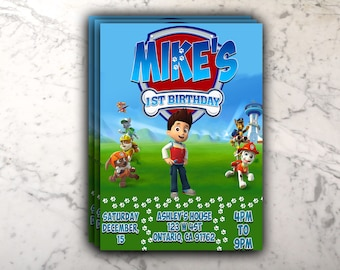 Paw Patrol Kid Birthday Invitation Custom Printable Digital