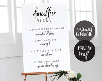 f9bd21d73 Printable Dancefloor Rules Sign INSTANT DOWNLOAD