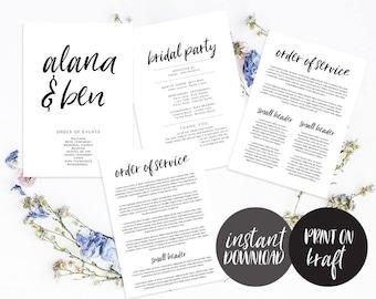 wedding program timeline editable pdf template instant etsy