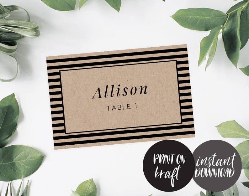 Flat Place Cards Editable pdf Template INSTANT DOWNLOAD Name Card Seating Card Isla Flat Card Business Card Printable File