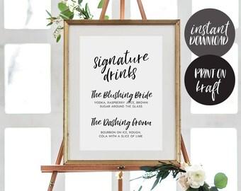 Signature Drink Sign INSTANT DOWNLOAD Editable PDF, Signature Drinks Printable, Wedding Reception Sign, Wedding Bar Sign - Alba
